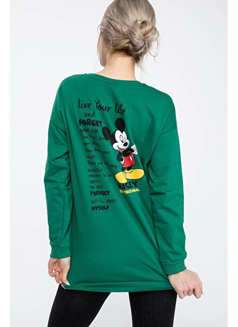 DeFacto Mickey Mouse Baskılı Lisanslı Tunik Yeşil